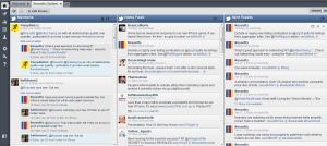 An image of the HootSuite dashboard, showing multiple streams of tweets
